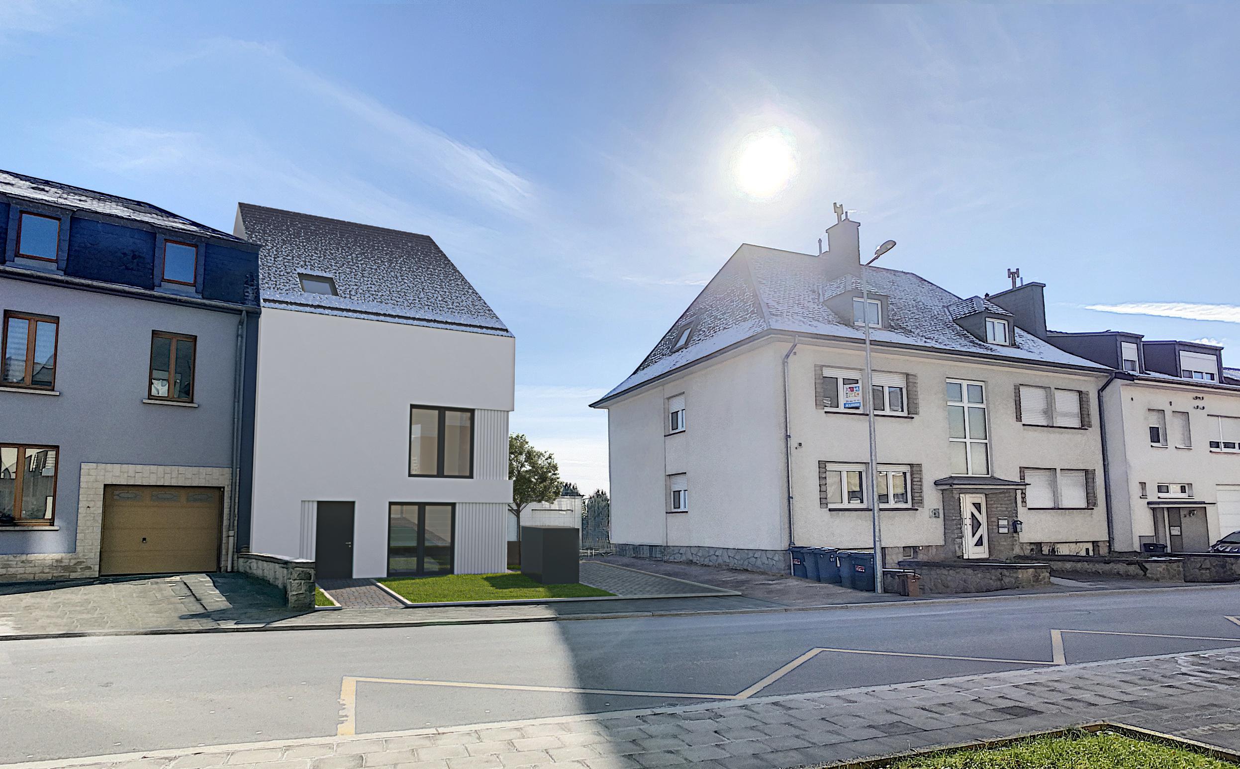 Maison asymétrique 3 façades